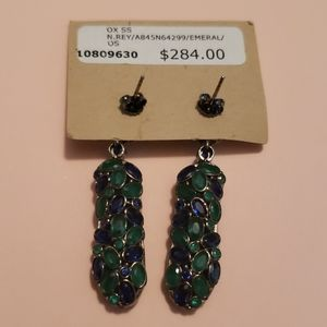Nickho Rey Blue Green Statement Dangle Earrings